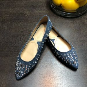 Adrienne Vittadini denim and rhinestones flats